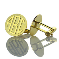 AILIN Monogram Cufflinks Personalized Gold Color Groom Cufflinks Engraved Monogram Block Cufflinks Father of the Bride Jewelry