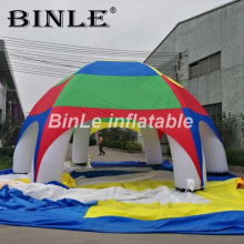 Big sale!high quality polyester waterproof rainbow inflatable tent spider dome for beach events