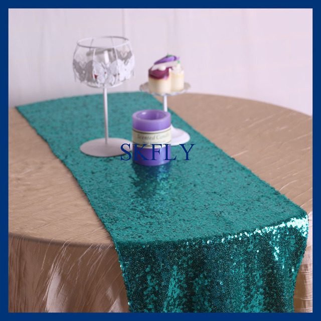 RU002B Good Quality Party Wedding Glitter Turquoise Green Sequin Table  Runner