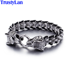 TrustyLan Punk Rock Man Jewelry 316L Stainless Steel With Genuine Leather Wrap Bracelet Men Cool Double Wolf Head Animal Armband