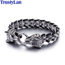 TrustyLan Punk Rock Man biżuteria stal nierdzewna 316L z prawdziwej skóry Wrap bransoletka mężczyźni fajne podwójna głowa wilka zwierząt opaska