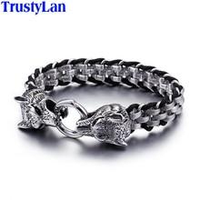 Trustylan Punk Rock Man Sieraden 316L Roestvrij Staal Met Echt Lederen Wrap Armband Mannen Cool Dubbele Wolf Head Animal Armband