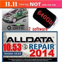 Mais novo software de reparação automática alldata 10.53 + workshopdata vívido ati 10.2 manual reparação conjunto completo com hdd 640g