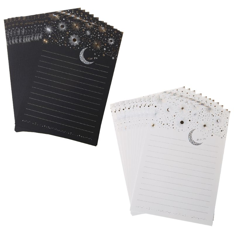 12pcs Starry Sky Writing Letter Stationery Romantic Creative Small Fresh Japanese Style Letterhead Note Paper Black/White C26