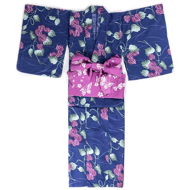 Traditional Women Yukata With Obi Japanese Style Blue Classic Kimono Vintage Print Flower Geisha Gown Elegant Cosplay Costume