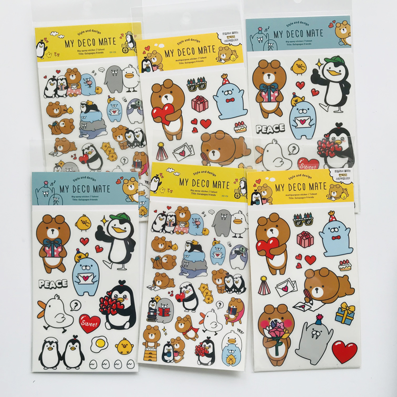 1 Sheet Kawaii Bear&Penguin Adhensive Stickers DIY Stick Label PVC Phone Hand Account Decor Sticker Stationery Kids Gift