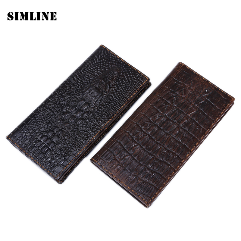 Vintage Crocodile Genuine Leather Cowhide Long Bifold Men Wallet Wallets Card Holder With Zipper Coin Pocket Purse Mens Carteira levelive mens genuine leather hasp zipper wallets men real cowhide wallet coin pocket card holder male purse carteira masculina