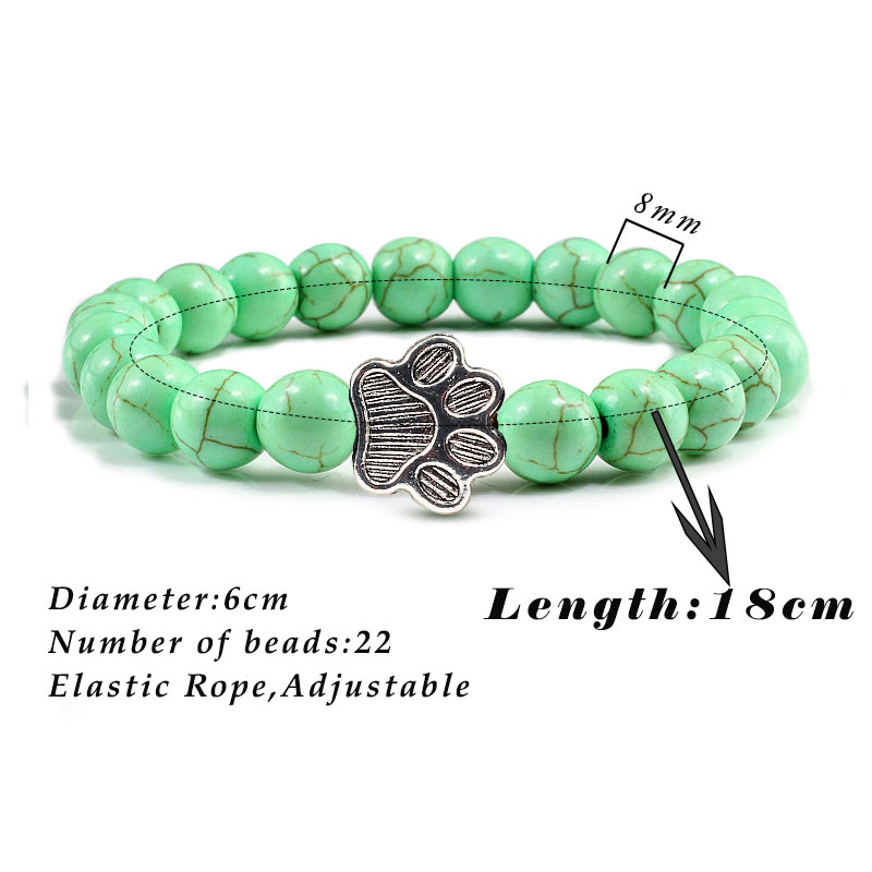 Men Natural Volcanic Stone Bracelet Sliver Cat Paw Black Lava Turquoises Beaded Bracelets Bangles Women Yoga Fashion Jewelry 5