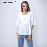 Singwing Ofis Lady Yaz Dantel Patchwork Bluzlar Yeni Rahat Yarım Flare Kollu Kadın Gömlek Beyaz Renk Moda Blusas Tops
