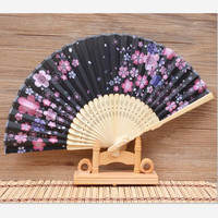 Women S Folding Fan Exquisite Pierced Carving Dance Fan Japanese Colorful Printing Hand Fan Beautiful Cherry
