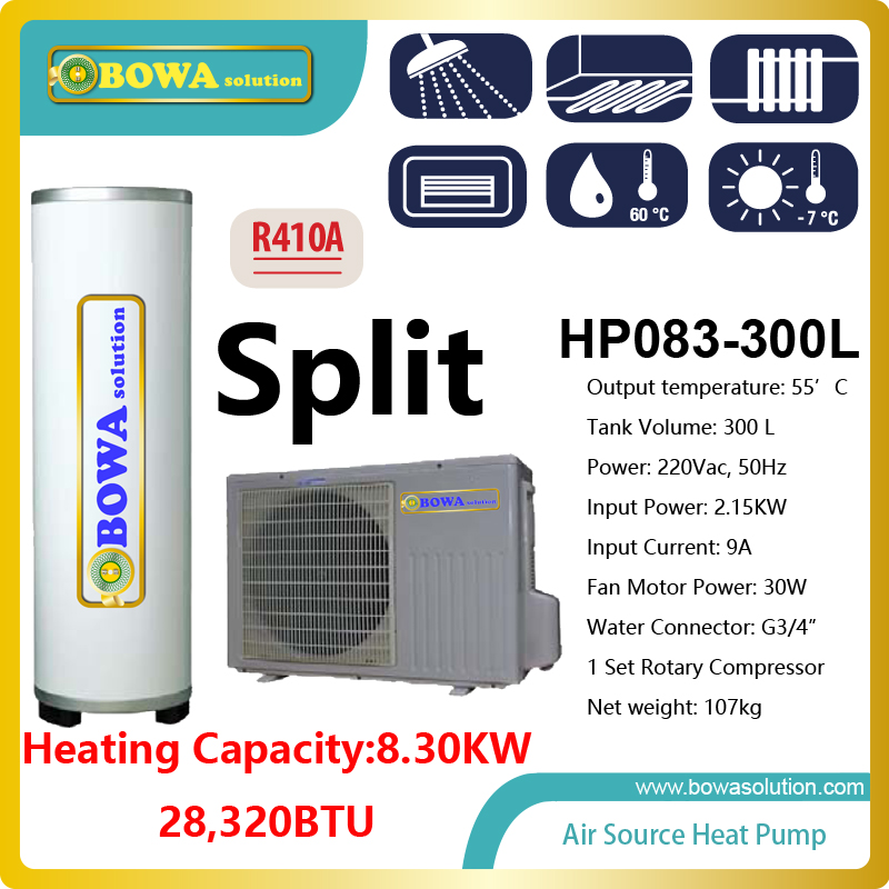 8.3KW split type Hi-COP heat pump water heater with 300L tank for shower, please check with us about shipping costs 6162 63 1015 sa6d170e 6d170 engine water pump for komatsu