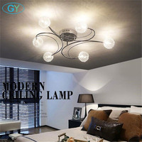 2017 New Aluminum Wire LED Ceiling Chandelier Lighting Glass Or K9 Crystal Lampshade Lustres Kitchen Lumiere
