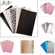 JOJO BOWS 22*30cm 5pcs Glitter Synthetic Leather Fabric For Craft Sheet Set For Needlework DIY Hair Bow Apparel Sewing Materials цена