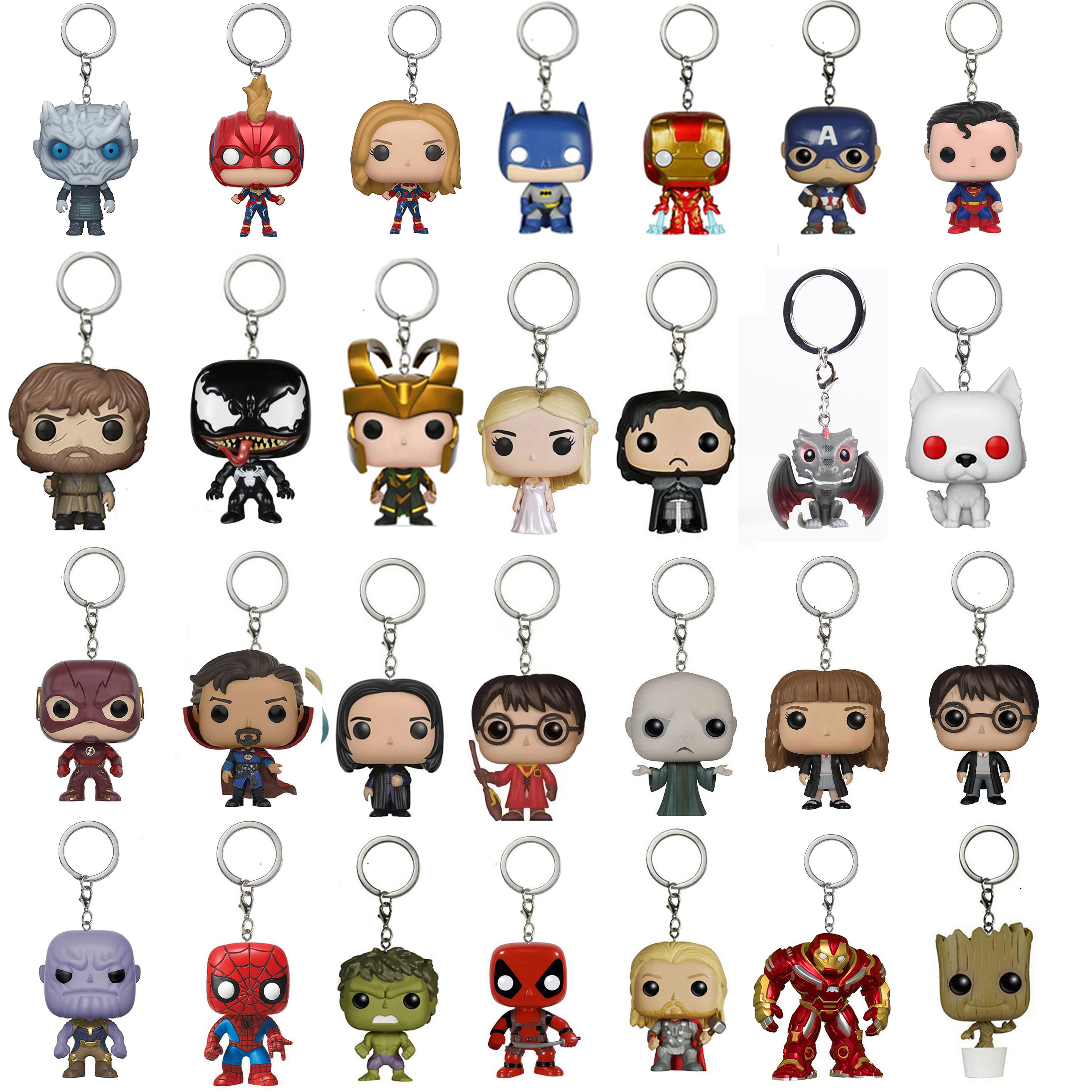 DC Marvel The Avengers 2 Super Heroes Keychain Toy Spider-man Batman Superman Deadpool Iron Man Hulk Captain America Vinyl Toys