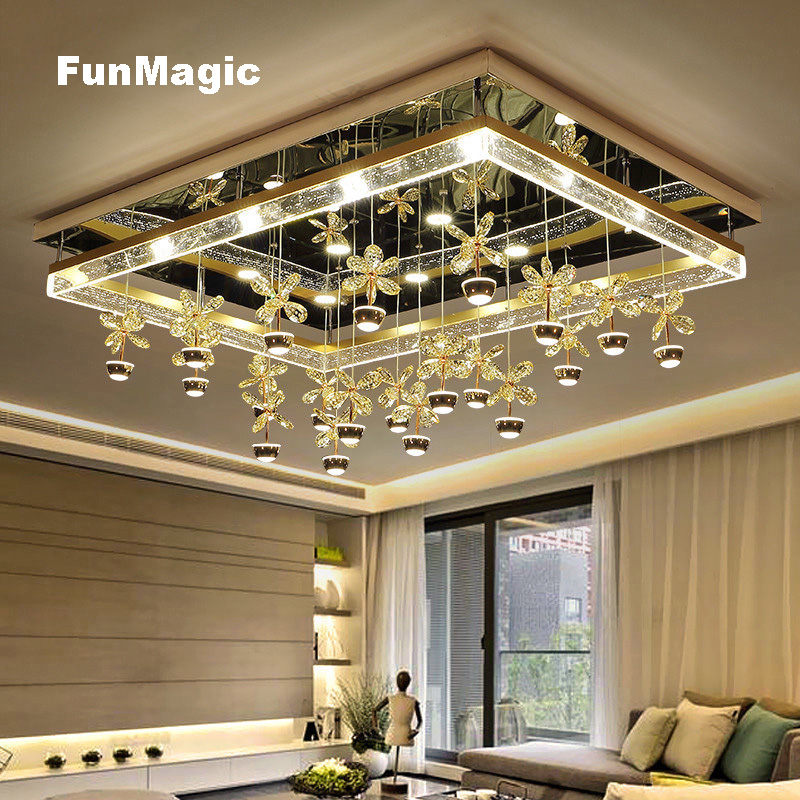 Modern Romantic Crystal Flowers LED Ceiling Light Living Room Bedroom Fixture Lamp Remote Control Stainless Steel Foyer Lighting