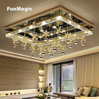 Moderno romántico cristal flores LED Techo Luz sala de estar dormitorio accesorio lámpara Control remoto Acero inoxidable Foyer iluminación
