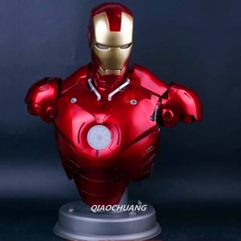 Statue Avengers Iron Man MK3 1:2 Bust Superhero Tony Stark Half-Length Photo Or Portrait With LED Light Collectible Model Toy captain america civil war statue avengers vision bust superhero half length photo or portrait resin collectible model toy w142