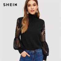 Шеин женский, черный с высоким воротом кружевной Фонарь рукавом модная сетчатая блузка Для женщин с длинным рукавом узор печати женские топ...