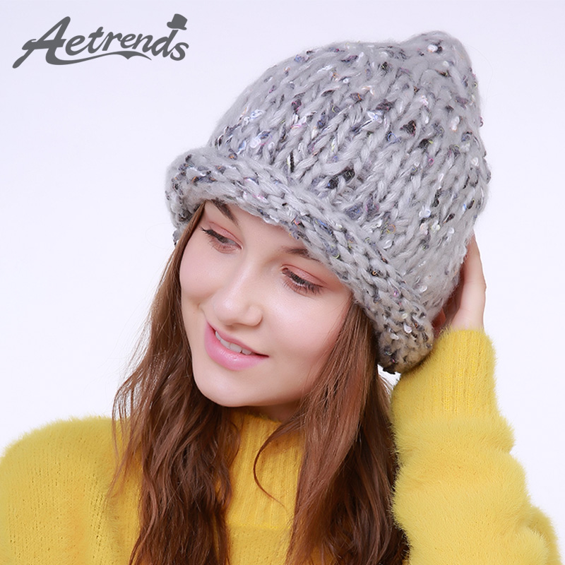 [AETRENDS] 2017 New Winter Beanie Hats for Women Warm Knitted Caps Beanies Z-6009 2016 new beautiful colorful ball warm winter beanies women caps casual sweet knitted hats for women outdoor travel free shipping