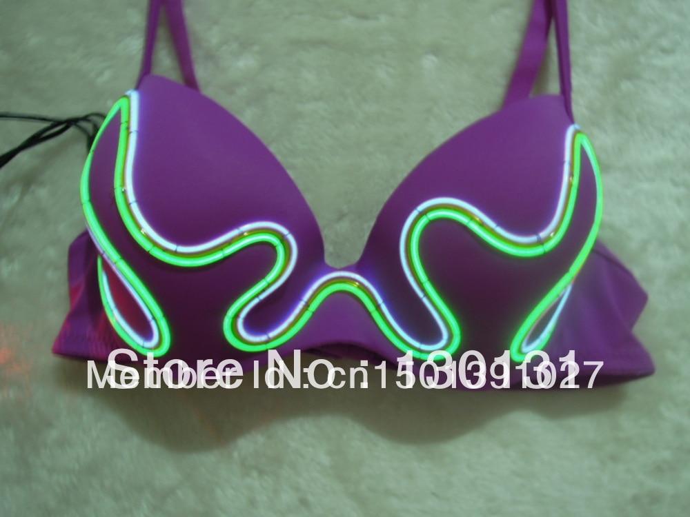 Sexy costumes women,purple bras,EL wire bra,Performance bra, light ...