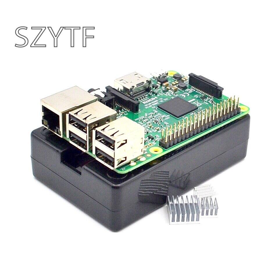 Raspberry Pi 3 modèle B Board + noir shell dissipateurs de chaleur 1 GB LPDDR2 Quad-Core WiFi & Bluetooth