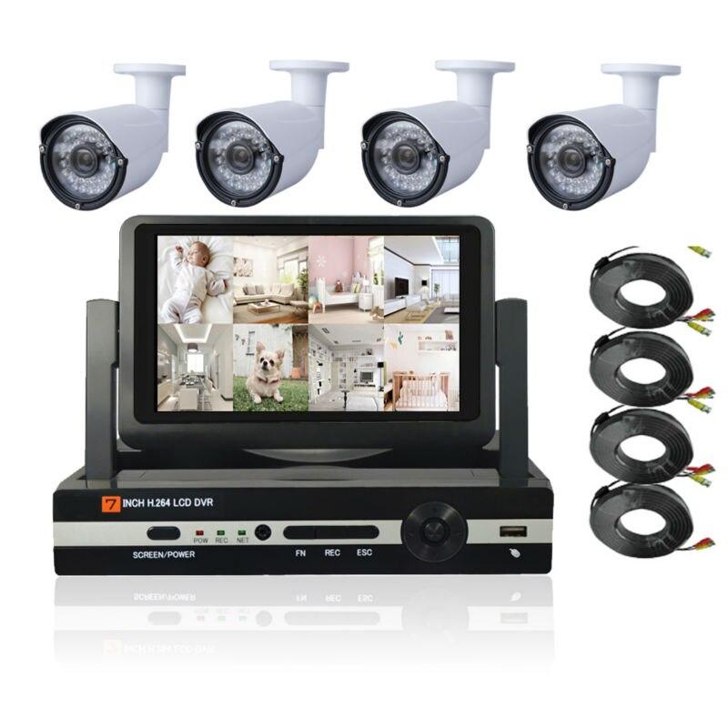 7 zoll LCD HD 1080 P HDMI 4ch CCTV-System 4 kanal DVR KIT 720 P Video Recorder mit 1200TVL Sicherheit Hausüberwachung
