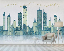 Купить с кэшбэком beibehang Custom mural wallpaper Nordic geometric building bird reflection TV sofa living room background wall 3d wallpaper
