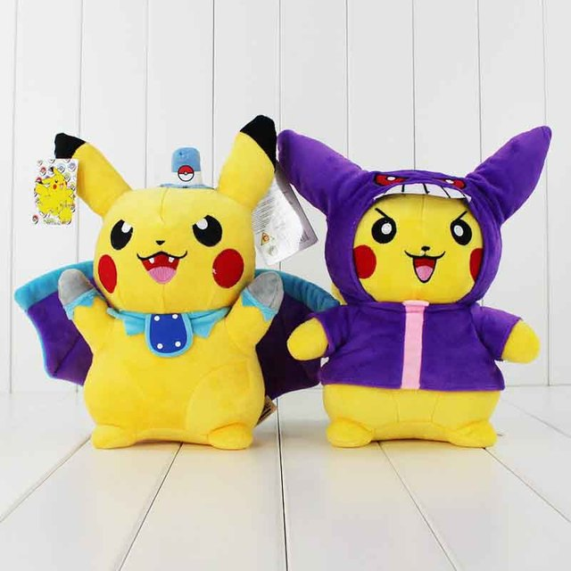 28cm 2Styles Anime Cute  Pikachu Cospaly Batman and Gengar Stuffed Soft Plush Toy Dolls Collectible Gifts for Kids