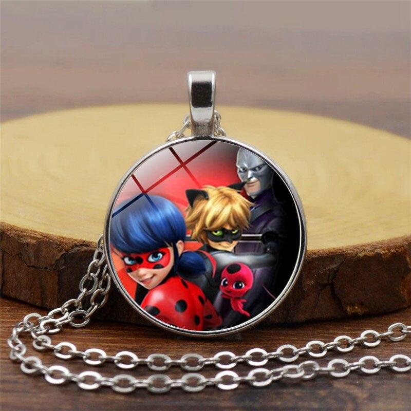 Free Shipping ladybug girl crystal glass pendant necklace wholesale necklace jewelry