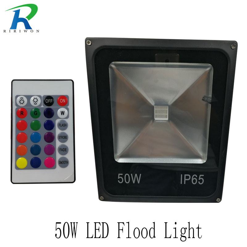 RiRi won LED RGB Floodlight 50W Waterproof Led Spotlight Outdoor Lighting Landscape Lighting Led Flood Light for Outside ultrathin led flood light 200w ac85 265v waterproof ip65 floodlight spotlight outdoor lighting free shipping