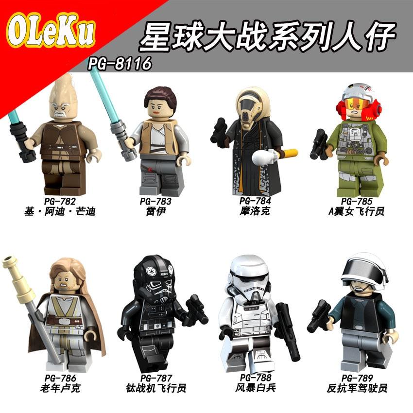 For Legoing Star Wars Rey The Last Jedi Starwars Darth Vader Luke Stormtrooper Yoda Model Building Blocks Bricks Toys Figures #3