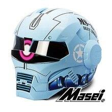 MASEI610 IRONMAN мотоциклетный шлем мотокросс Шлем половина шлем Личность открытым лицом шлем Тенденция Велогонки шлем Ярко-Синий