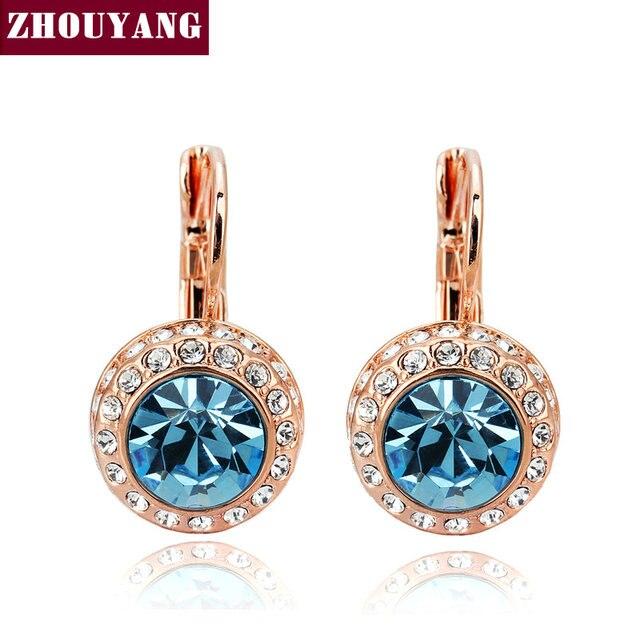 ZHOUYANG Top Quality Blue Moon River Rose Gold Color Drop Earrings Genuine Austrian Crystal Wholesale ZYE074