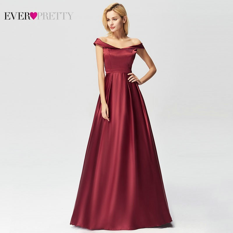 Burgundy Mother Of The Bride Dresses A-Line V-Neck Off The Shoulder Satin Farsali Mother Dresses Robe Mere De La Mariee 2020