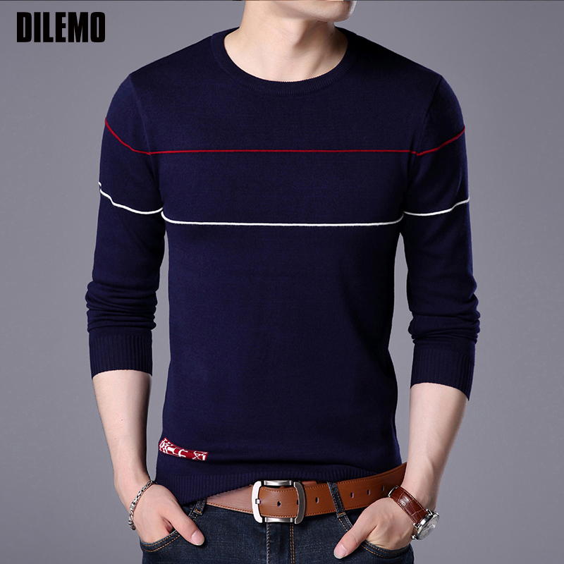 2020 New Fashion Brand Sweater For Mens Pullovers Striped Slim Fit Jumpers Knit Autumn Woolen Korean Style Casual Men Clothes