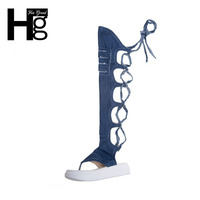 HEE GRAND Women Flip Flop Sandal Boots Slim Cut Outs Denim Summer Boots Lace Up Sexy