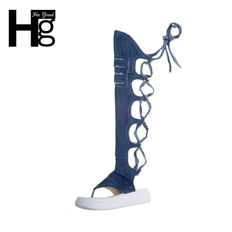 HEE GRAND Women Thong Sandal Boots Slim Cut outs Denim Summer Boots Lace up Sexy over Knee-high Shoes Woman XWX6096 hee grand women s wedges heel highs for 2017 summer cut outs love heart bottom pumps wedding shoes woman size 35 39 xwd401