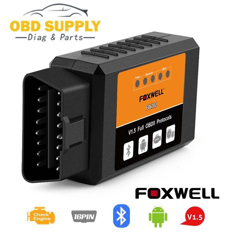 FOXWELL FW202 OBD2 ELM327 Bluetooth V1.5 PIC18F25K80 ODB 2 Lettore di Codice Auto Scanner OBDII ODB2 ODB II Strumento di Scansione ELM 327 v 1.5 Nuovo