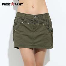 Free Army 2015 Summer Green Shorts Skirts Ladies Casual Trousers Women Military Slim Short Skirt GK-973A