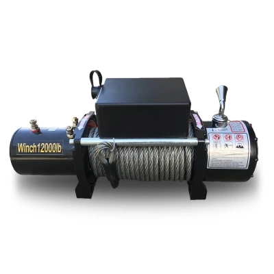 12000lbs12V/24V Portable Copper Core Motor Winch Power Recovery Winch Cable Puller Winch ...