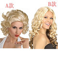 Queen Blonde Curly Wave Women Wig Luxury Short Long Curly Model Styling Wig Party Costume Cosplay American Synthetic Hair Wig
