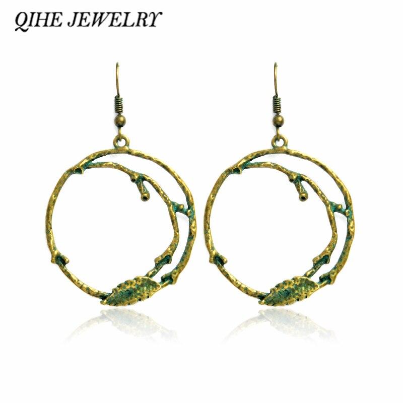 Drop earrings Rustic antique green round hollow dangle twig branch earrings Nature jewelry Earrings for women pendientes