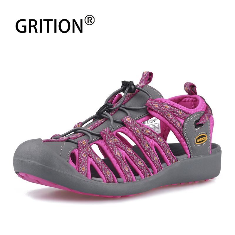 GRITION Women Sandals Beach Sport Walking Shoes Flat Outdoor Summer Ladies Breathable Big Size Lazy Footwear