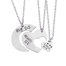 Fashion 3 Piece/Set Big Sister Little Sister Middle Sister Necklace Jewelry Heart-Shape Pendant Necklace For Women Best Sister