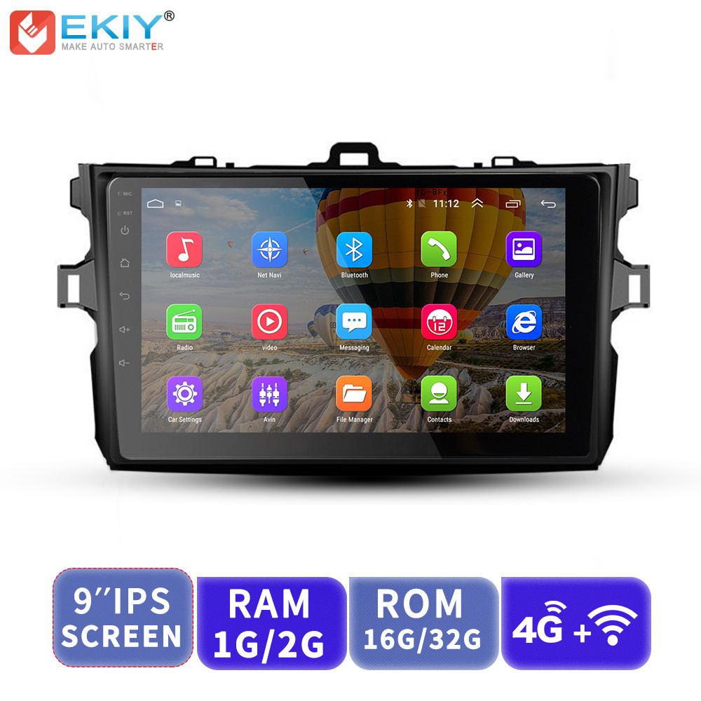 EKIY 9'' IPS 2.5D Android Car Multimedia Player No 2 Din AutoRadio Stereo For Toyota Corolla 2006 2011 E140/150 GPS Navigation