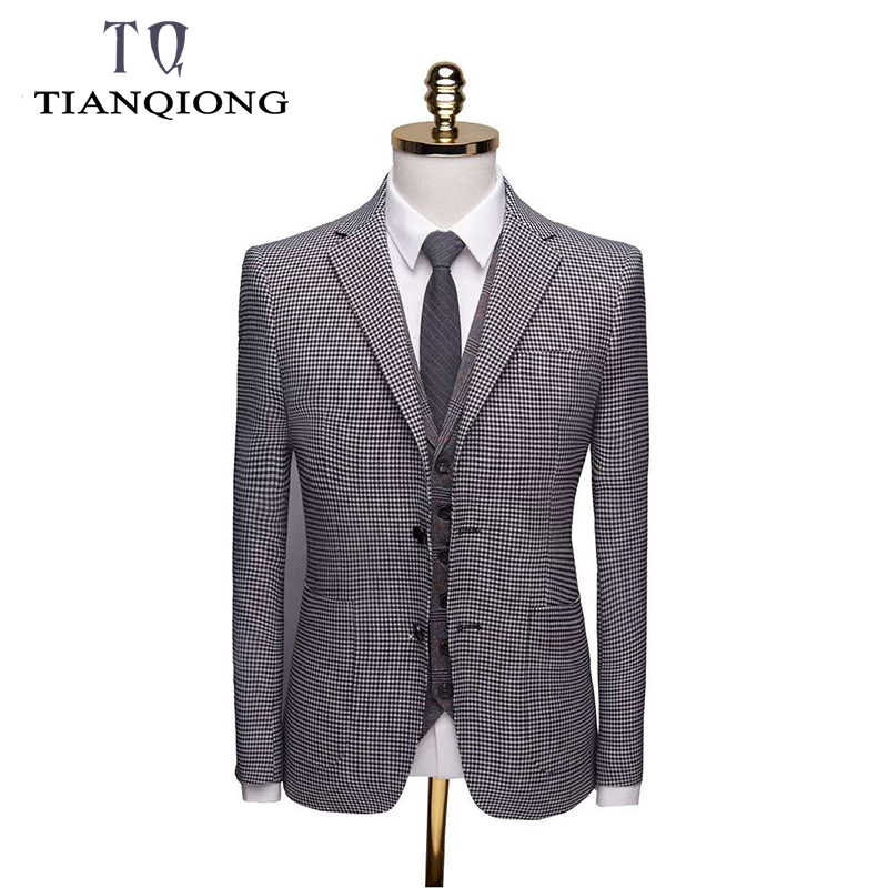 2019 New Boutique Plaid Men Business Suits 3 Pieces Formal Tuxedos Slim Fit Terno Masculino Men Wedding Party Party Prom Suit