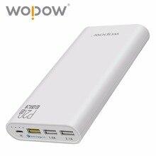 Wopow Быстрый Зарядное устройство 15 Вт P20Q 20000 мАч Power Bank три зарядка через USB порт Портативный Зарядное устройство Внешний Батарея для IPhone Xiaomi LG