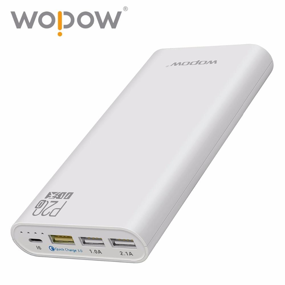 Wopow cargador rápido 15 w p20q 20000 mah banco de la energía de tres puerto de