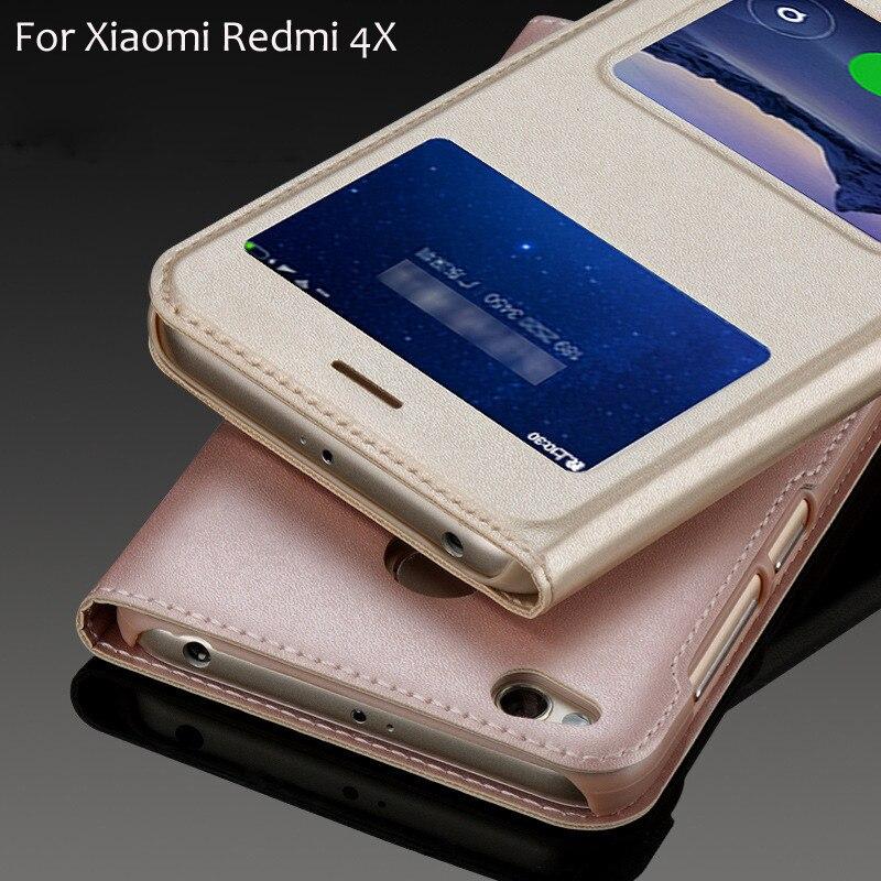 Для Чехол чехол на Xiaomi Redmi 4x чехол Xiomi Redmi 4x чехол Флип кожаный пластик роскошный черный 5,0 Тонкий вид окна противоударный