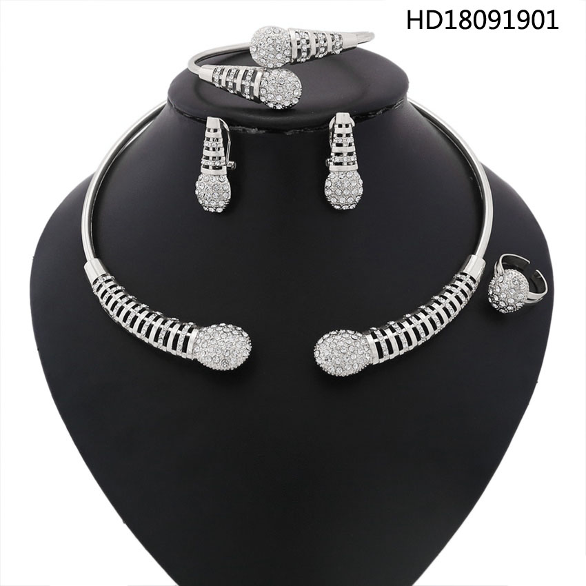 YULAILI Silver Color Jewelry Sets for Women Nigerian Necklace African Beads Wedding Luxury Dubai Jewelry Accessories stonefans rosered dubai jewelry sets for women in nigerian wedding set prom necklace rhinestone necklace and earing sets wedding